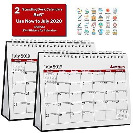 Calendrier Juillet2020.Petit Calendrier De Bureau 2019 2020 20 3 X 15 2 Cm 16