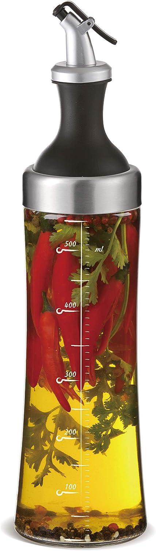 a|m| i|n|a Aceitera (Cristal con integrado hierbas tamiz–570ml Dispensador de aceite para fabricación de aroma de aceite, caño seguro y lavavajillas