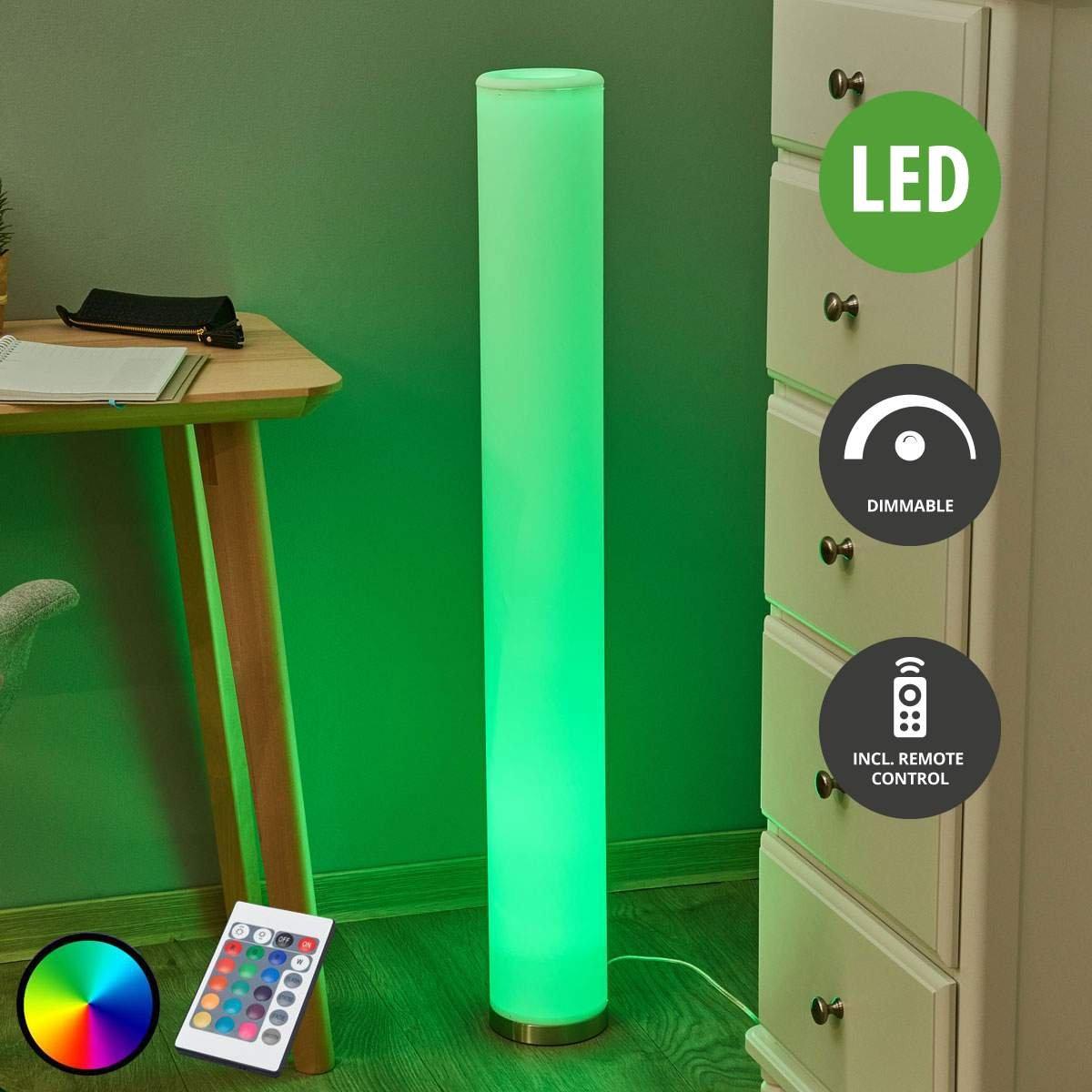 Lampenwelt LED StehlampeMirella dimmbar mit Fernbedienung (Modern) in Weiß aus Kunststoff u.a. für Wohnzimmer & Esszimmer (1 flammig, GU10, A, inkl. Leuchtmittel) | LED-Stehleuchte, Wohnzimmerlampe [Energieklasse A]