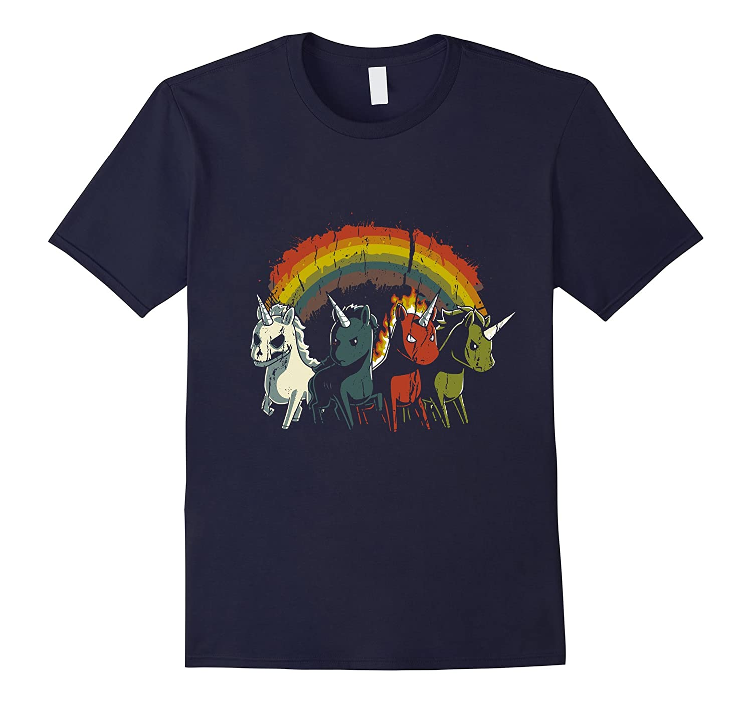 Four Unicorns Of The Apocalypse T-shirt Evil Zombie, Rainbow-TH