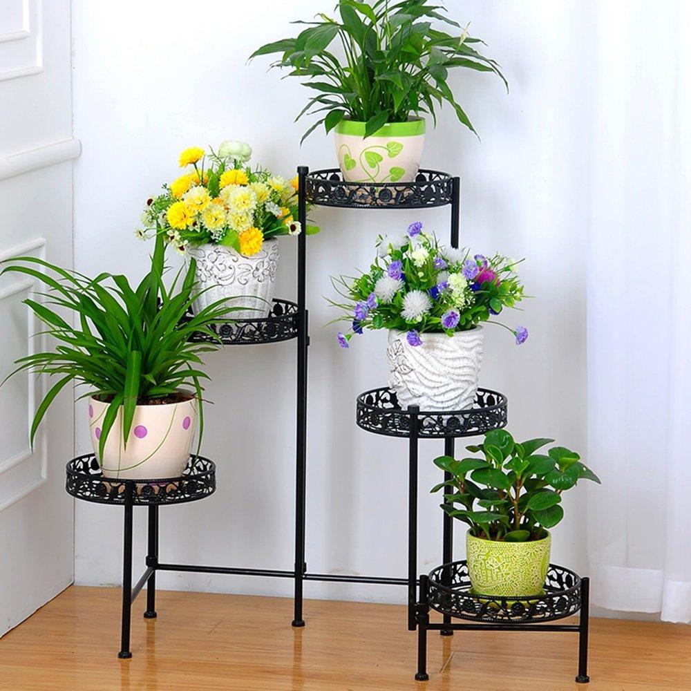 Creative flower racks. Fünf - Story Blumentöpfe Innen Balkon Wohnzimmer Mehrgeschossige Blumenregale (Farbe   Schwarz)