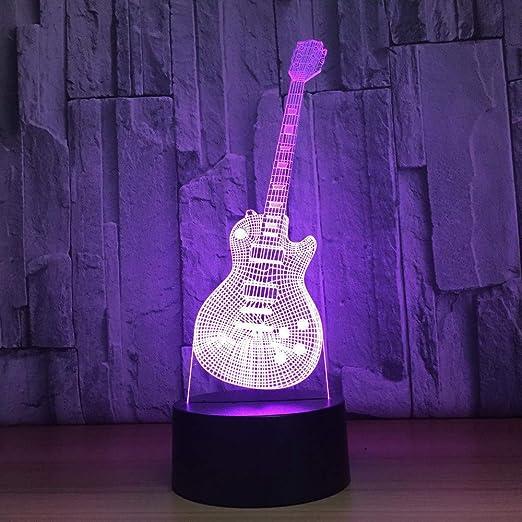 3D Visual Led Moda Música Guitarra Eléctrica Forma Lámpara De Mesa ...