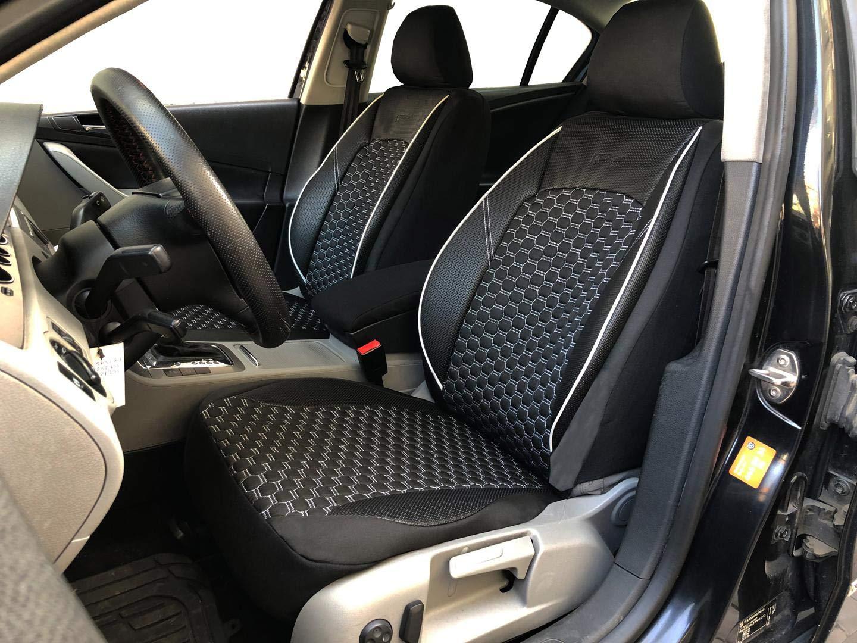 seatcovers by k-maniac Housses de Protection pour sièges d\'auto V1506981 Noir-Blanc sièges Avant Applications en Similicuir Accessoires Automobiles