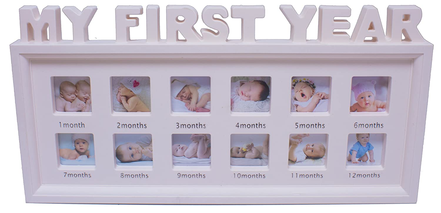 Royal Brands Baby Picture Frame - Baby Growth Collage Decor, Baby Shower Gift Idea for Boy and Girl (Pink)