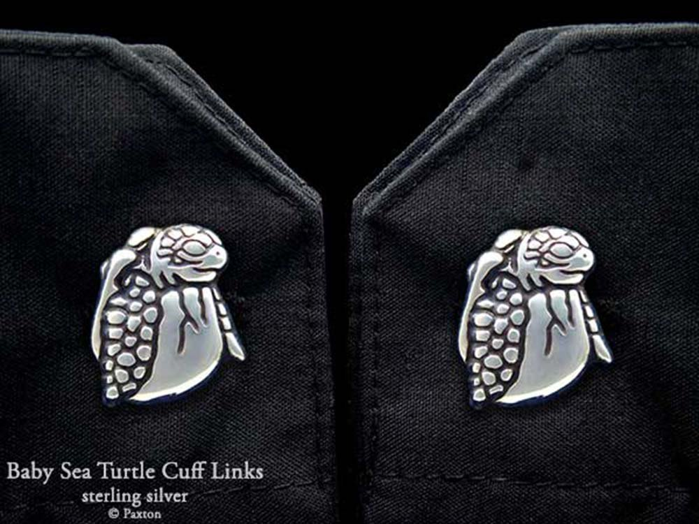 Baby Sea Turtle Hatching Cuff Links in Solid Sterling Silver Hand Carved & Cast by Paxton