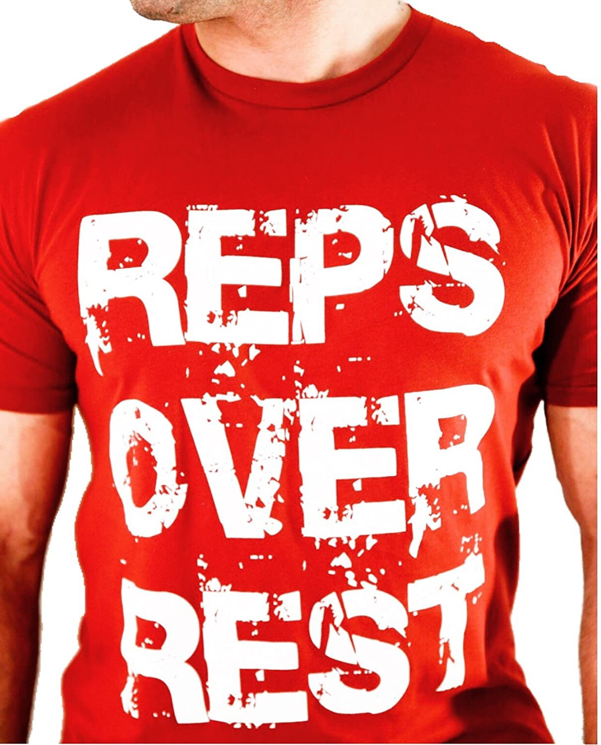 Cardinal Red XLarge Reps Over Rest 100% Cotton, Fitted Graphic Tee  Gym Leisure
