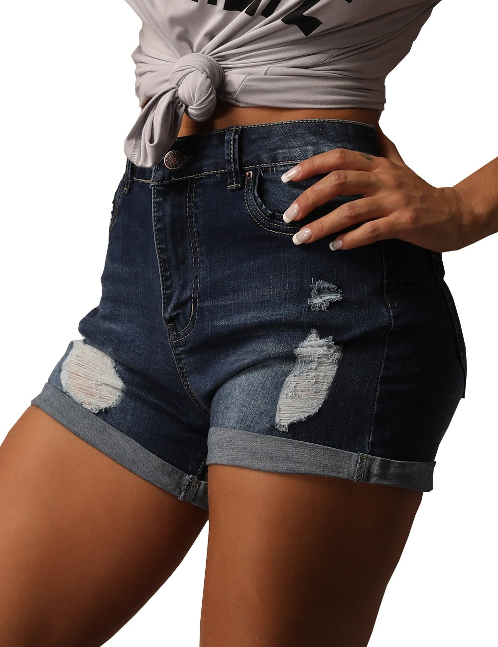 Women's Summer Shorts Casual High Waisted Distressed Ripped Stretch Denim Shorts Jeans M DarkBlue