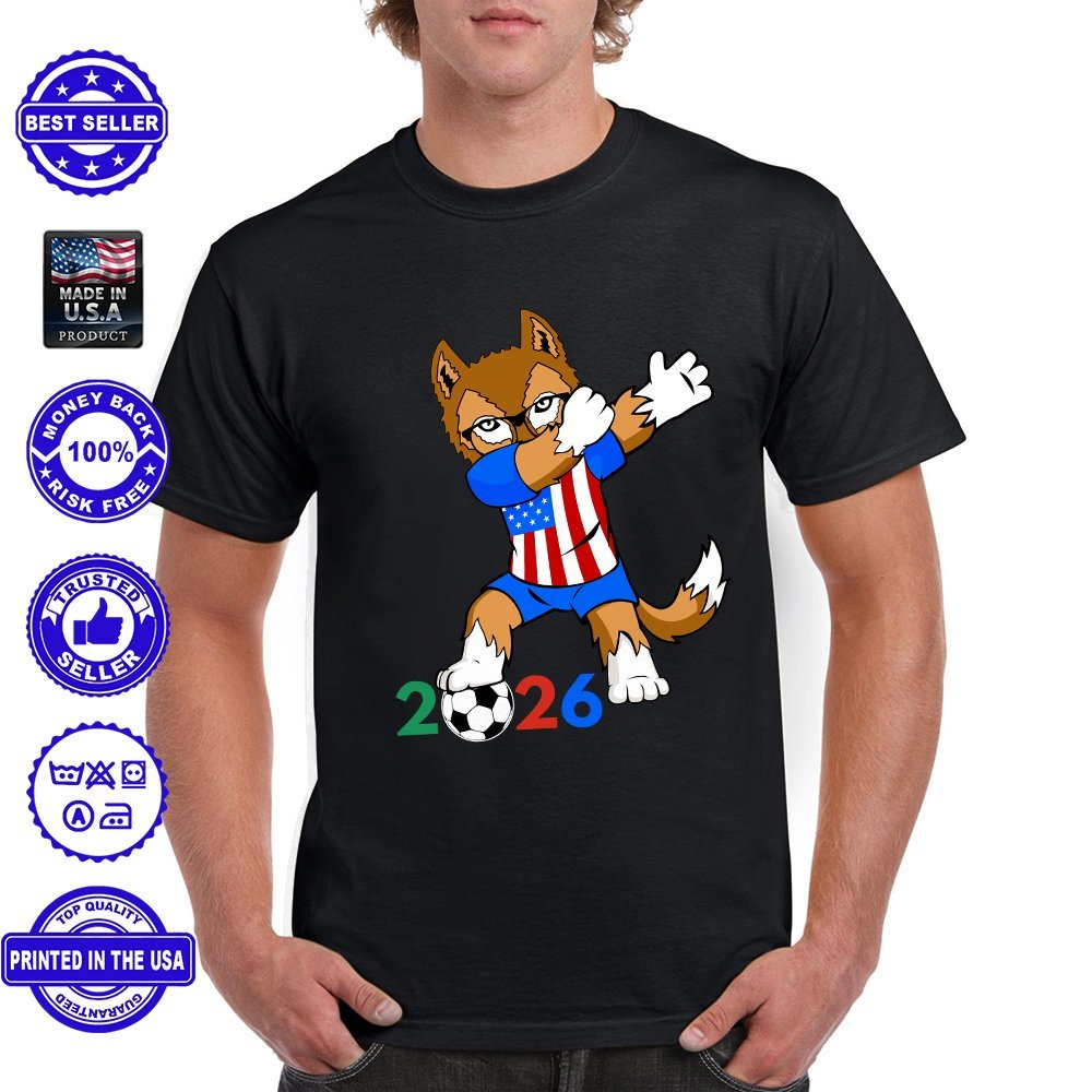 United Hosting 2026 Football Cup USA Jersey Dab Wolf T Shirt
