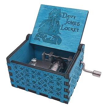 Davy Jones Locket Music Box Hand Crank Musical Box Carved Wooden