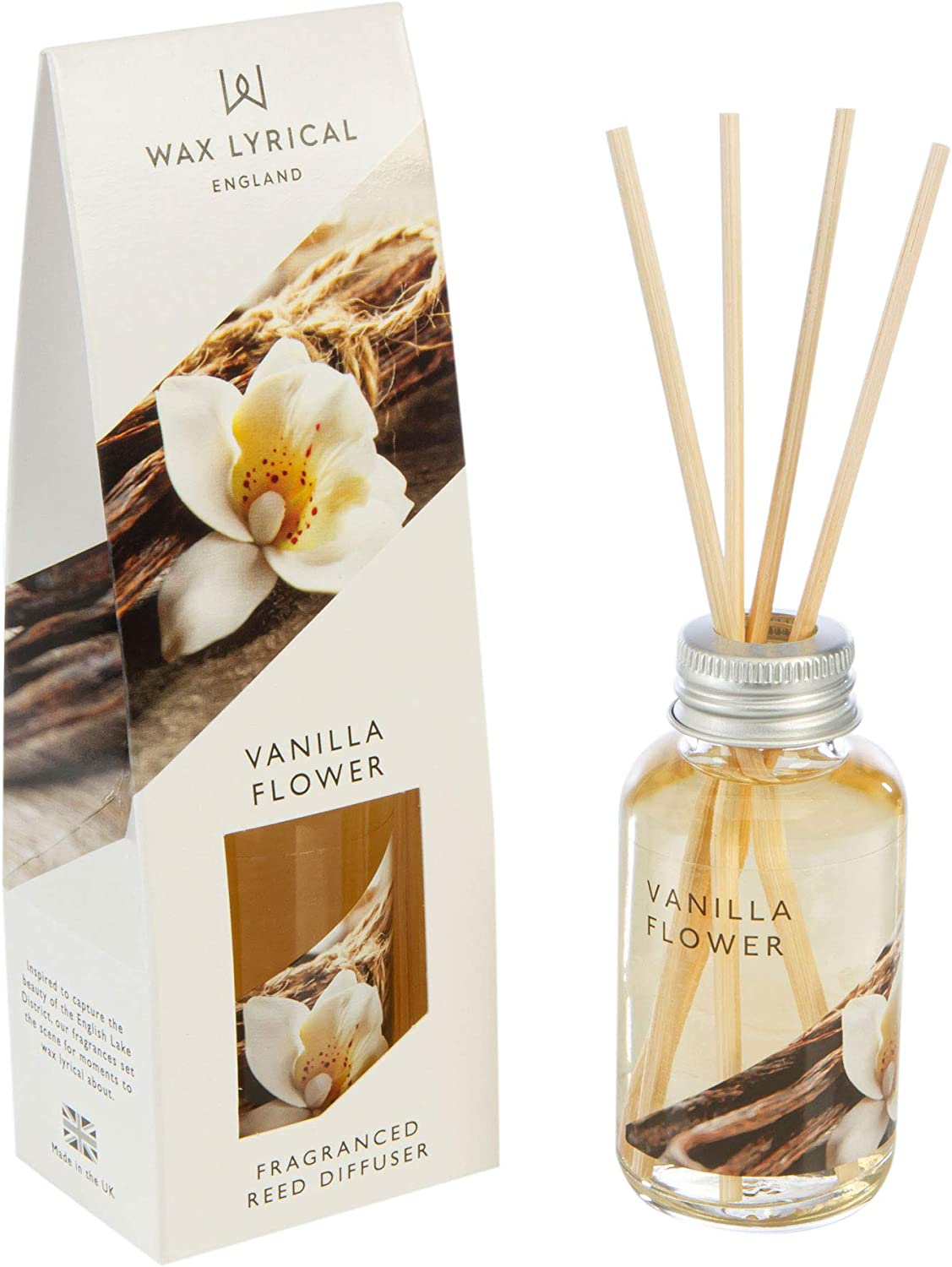 Wax Lyrical Small Vanilla Flower Candle In Glass Jar with Silver Lid
