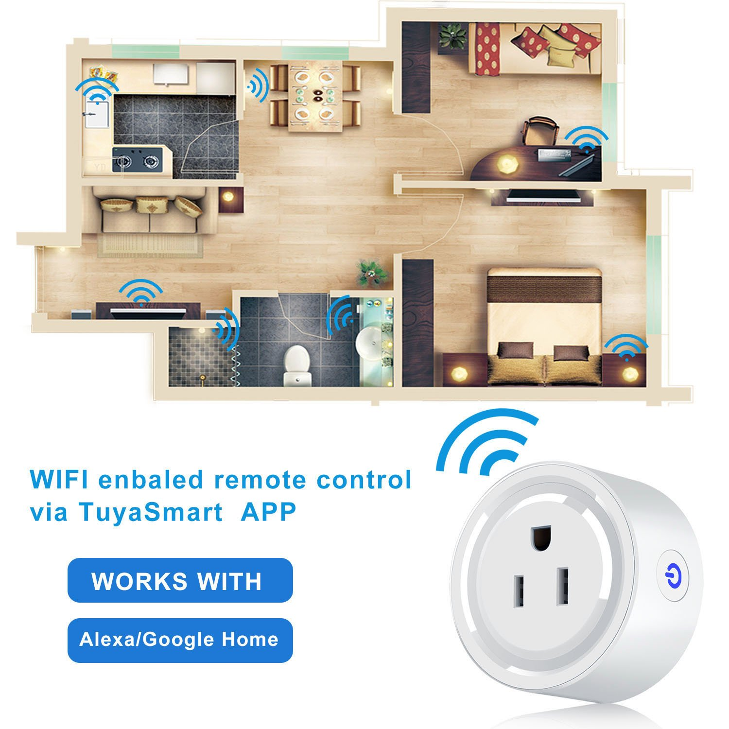 Smart Plug, Tocode Wireless Outlet WiFi Plug ,Wi-Fi Mini Smart Plug Socket Outlet Compatible with Alexa &Google Home, Remote Control Your Devices from Anywhere,Timing Function