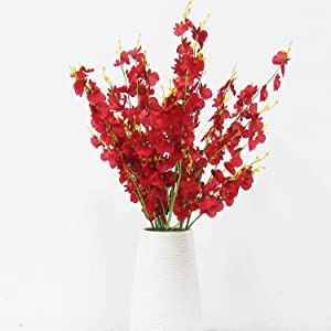 Red Artificial Orchids Faux Flowers - 10 pcs 37.5 Inches Real Touch Fake Artificial Flowers for Wedding Home Office Party Hotel Yard Decoration (Red, 10)