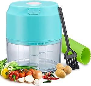 Electric Mini Garlic Chopper, Vegetable Chopper, Mincer Chopper, Onion Grinder, Masher, Crusher, Food Chopper for Ginger, Chili, Veggie, Seasoning, Hummus, Green, 250ml