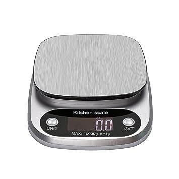 happyle Báscula Digital de Cocina con Pantalla LCD de Acero Inoxidable, báscula de Cocina de 10 kg (Pilas Incluidas): Amazon.es