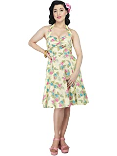 Collectif Vintage Mainline Blue Janie Kalea Hibiscus Doll Dress Sz 8-22 1950s