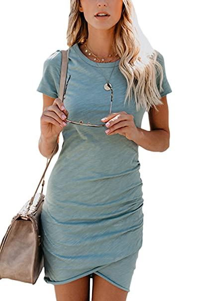 Mupoduvos Vestido Mujer Manga Corta Asimétrica Bodycon Vestido De Fiesta De Verano Azul S