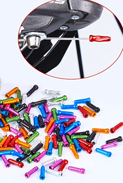 Multi-color Bicycle Aluminum Bicycle Brake Shifter Cable Cap Tip Wire End Crimps