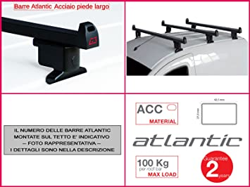 G3 Barre Portatutto Portapacchi Atlantic Acciaio Piede largo Kit x2