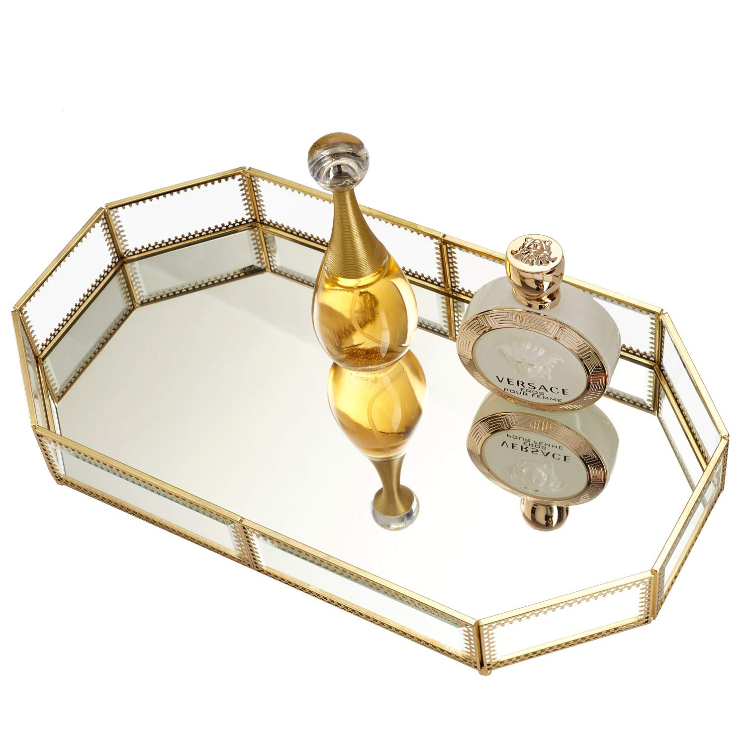 Hersoo Large Classic Vanity Tray/Ornate Decorative Perfume/Elegant Mirrorred Tray for Skincare/Dresser/Vintage Organizer for Bathroom/Countertop/Bathroom Accessories Organizer (Gold) by Hersoo (Image #4)