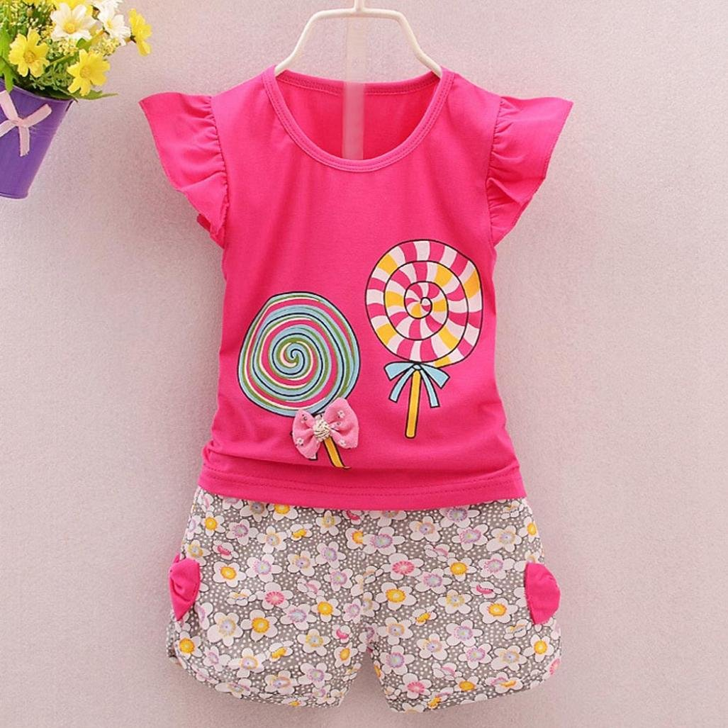 Fabal 2Pc Baby Girl Clothes Summer Tee Short Pants Kids Girls Casual Outfits Lolly