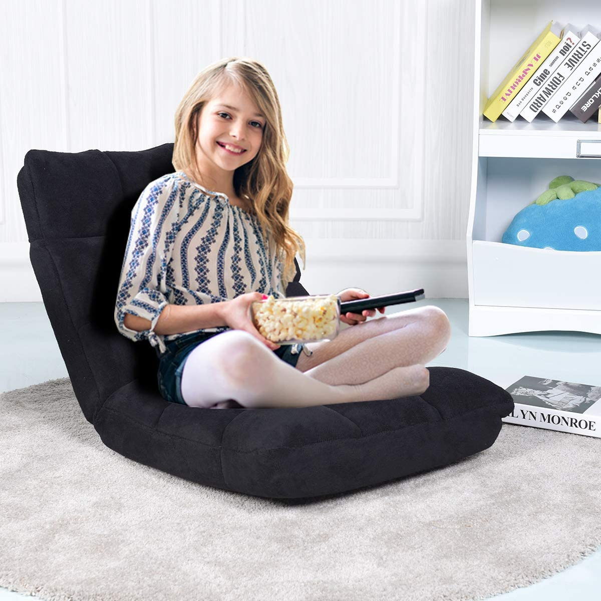 Tatami Canap/é Fauteuil Pliant Paresseux-Lits Bureau Chaise de Lit avec R/églable 14 Positions pour Maison Caf/é 105 x 56 x 15CM GOPLUS Chaise de Plancher Pliable