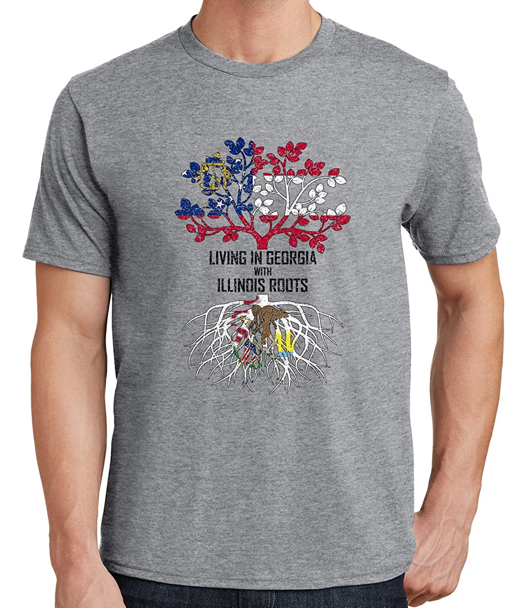 Tenacitee Mens Living in Georgia Illinois Roots T-Shirt
