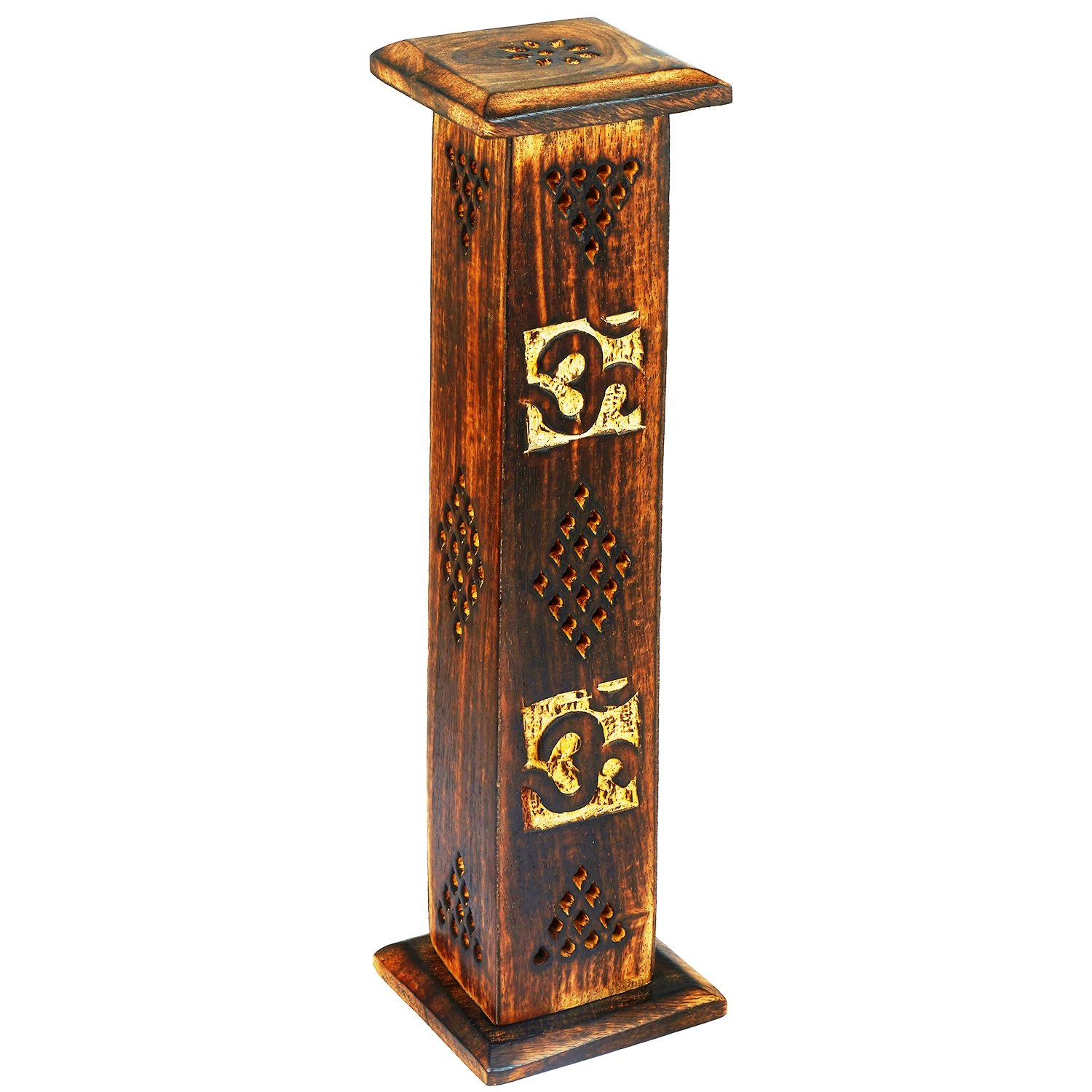 Wooden Incense Stick & Cone Burner Holder Tower Large Organic Eco Friendly Ash Catcher Agarbatti Holder Rustic Style Hand Carved for Meditation Yoga Aromatherapy Home Fragrance Products The Great Indian Bazaar