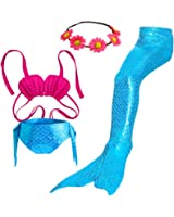 Camlinbo 3PCS Girls' Swimsuit Mermaid Tail For Swimming Tropical Bikini Halloween Christmas Gift Masquerade Pool Party