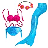 Amazon Price History for:3PCS Girls' Swimsuit Mermaid Tail for Swimming Tropical Bikini Set Support Monofin