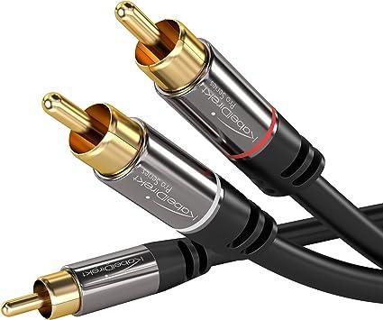 TALLA 5m. KabelDirekt 5m Cable RCA Coaxial, (Audio Estéreo Digital, 1 Conector RCA Macho a 2 Conectores RCA Macho, Cable Subwoofer, para cine en casa, alta fidelidad), PRO Series