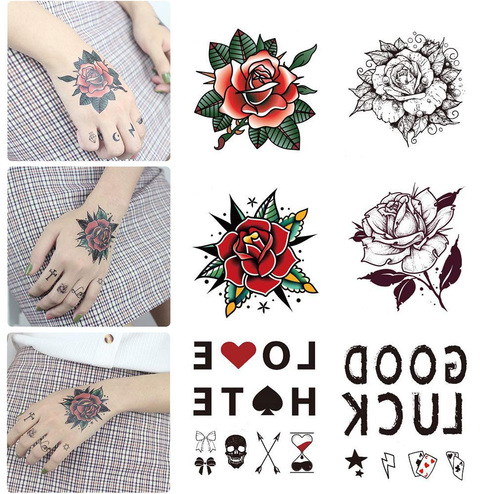 20 Sheets Hands Finger Temporary Tattoo, Black Mandara Flower Petal Leaf Sketch Words Fake Tattoo Sticker for Cool Women Lady Girls, Body Art on Back of hand Arm Clavicle Waterproof