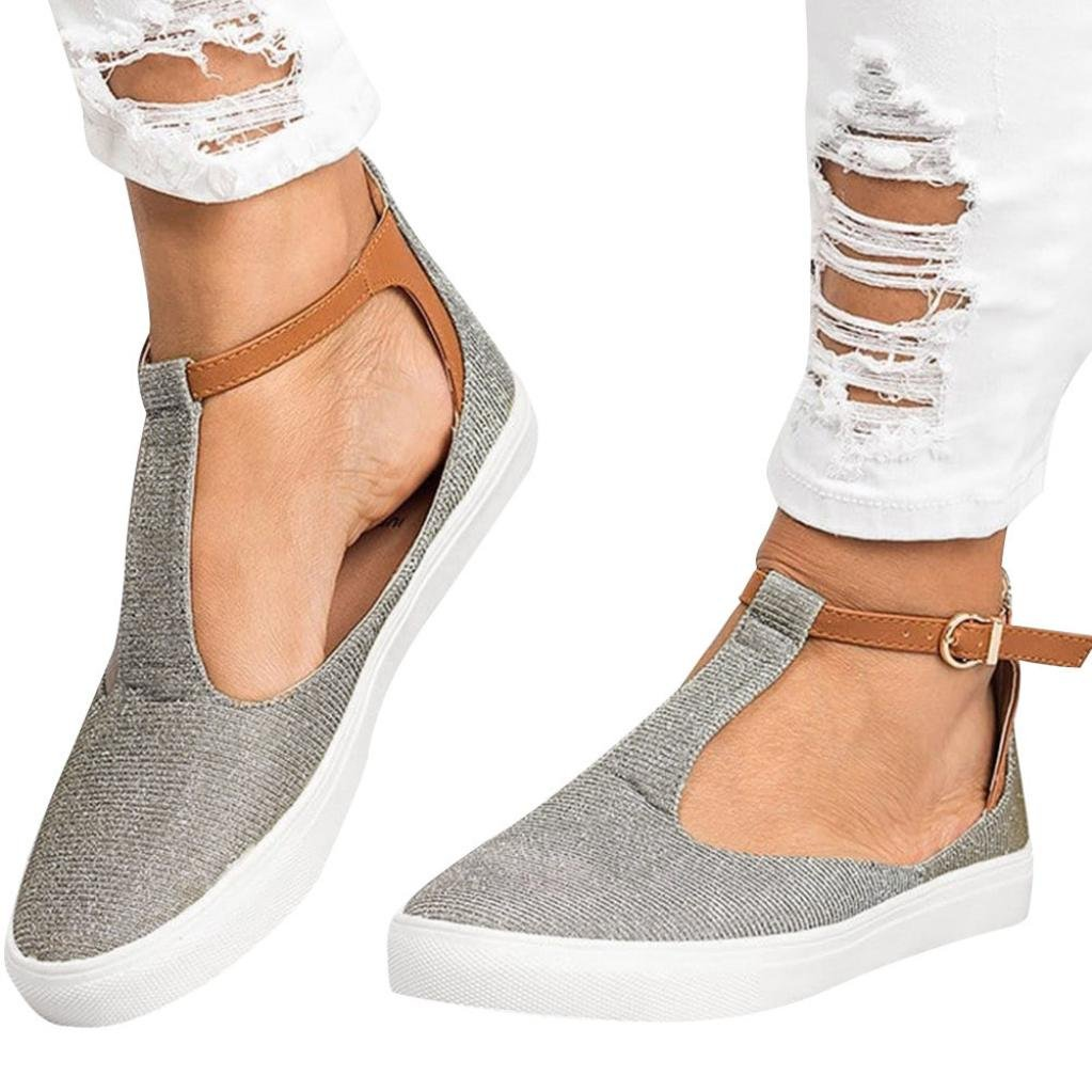 vermers Clearance Deals Women Vintage Out Shoes - Round Toe Platform Flat Heel Buckle Strap Casual Shoes(US:7.5, Gray)