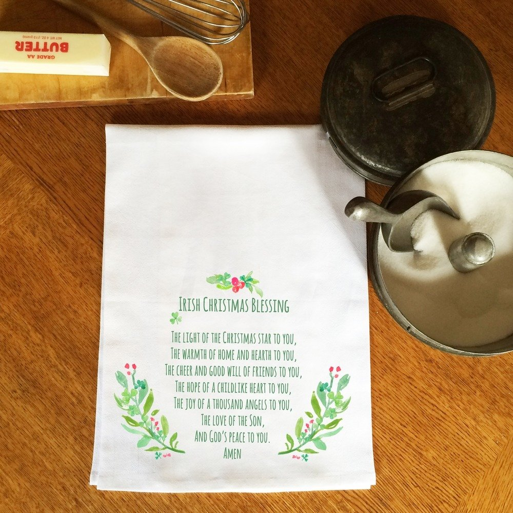 Amazon.com: Message Brands Irish Christmas Blessing Flour Sack Dish ...