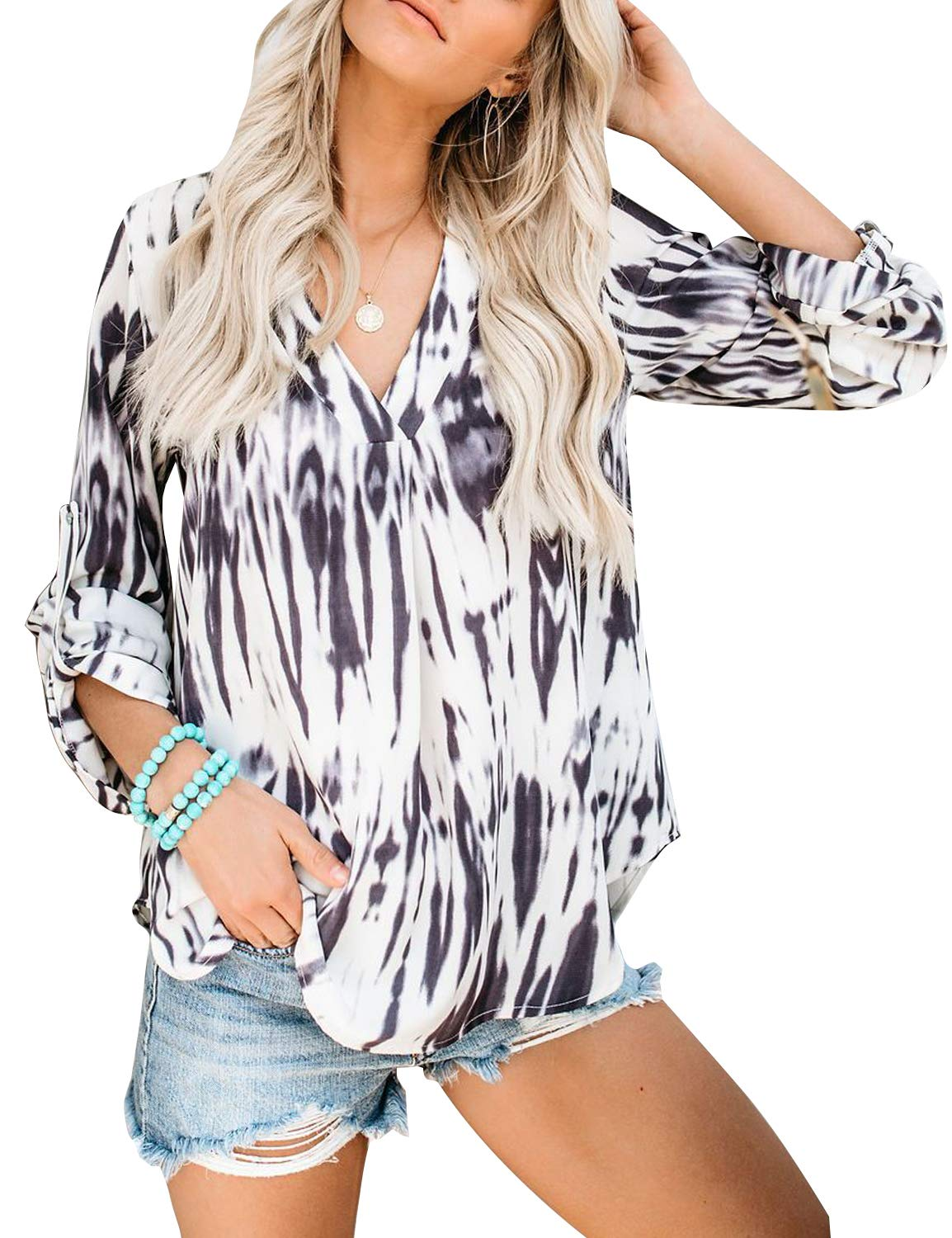BMJL Women's Tie Dye Shirt V Neck Long Sleeve Tops Cute Oversized Blouse Floral Tees(Medium,Tie dye)