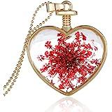 Collier avec Pendentif Forme de Coeur En Verre Médaillon de Fleur Artificielle Rouge