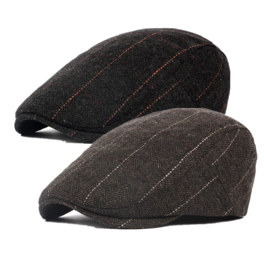 Bigface Up Pack of 2 Men's Cotton Flat Cap Ivy Cabbie Driving Hat Hunting Newsboy Cap