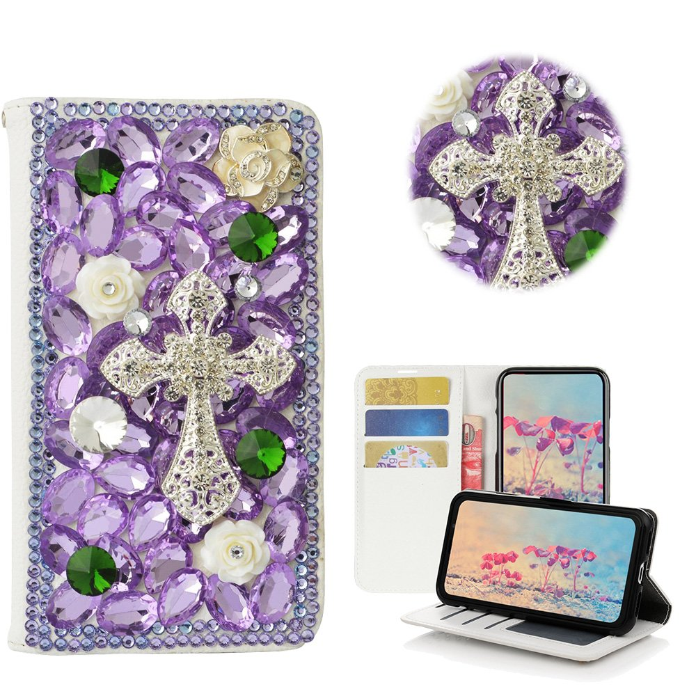 STENES LG G Stylo Case - Stylish - 3D Handmade Bling Crystal Cross Flowers Desgin Wallet Credit Card Slots Fold Media Stand Leather Cover Case - Light Purple