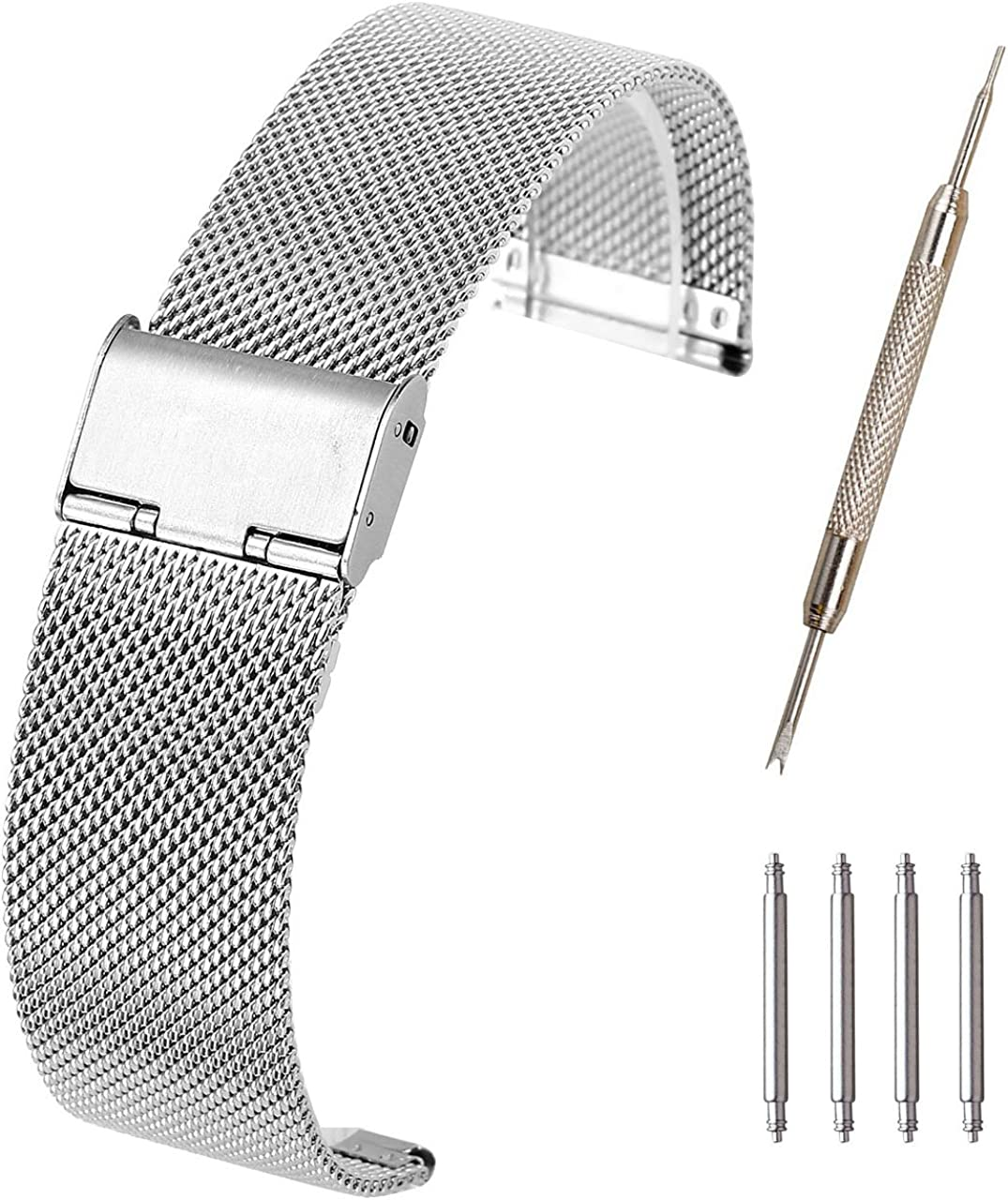 Top Plaza 18/20/22mm Stainless Steel Bracelet Wrist Watch Band Replacement Mesh Metal Strap Interlock Safety Clasp