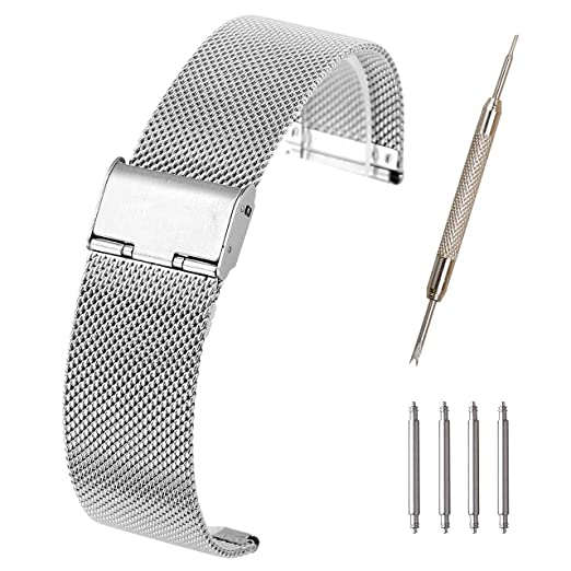 13d5067920d Top Plaza 20mm Stainless Steel Bracelet Wrist Watch Band Replacement Mesh  Metal Strap Interlock Safety Clasp