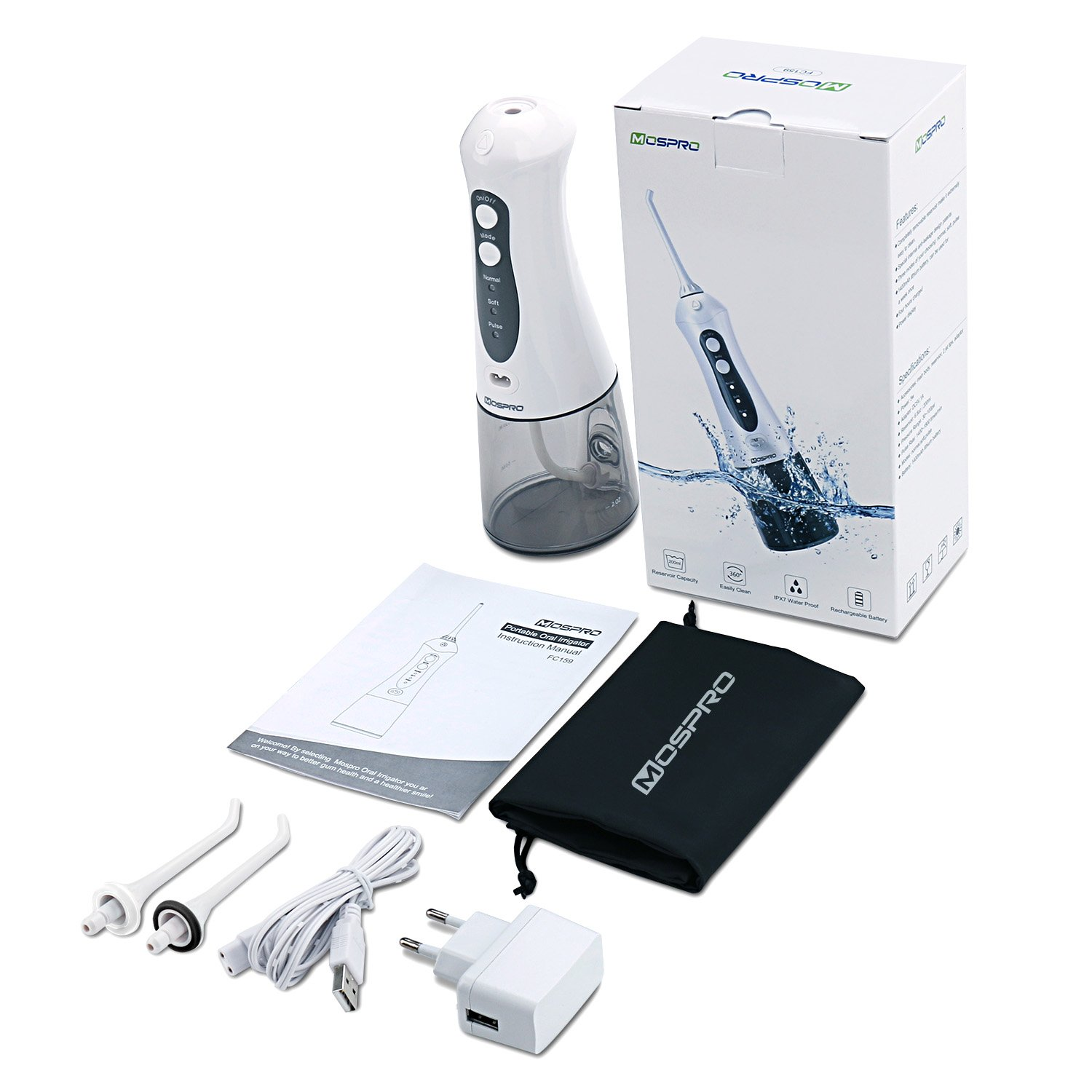 Water Flosser Professional Cordless Dental Oral Irrigator - Portable and Rechargeable IPX7 Waterproof 3 Modes Water Flossing with Cleanable Water Tank for Home and Travel, Braces & Bridges Care by MOSPRO (Image #8)