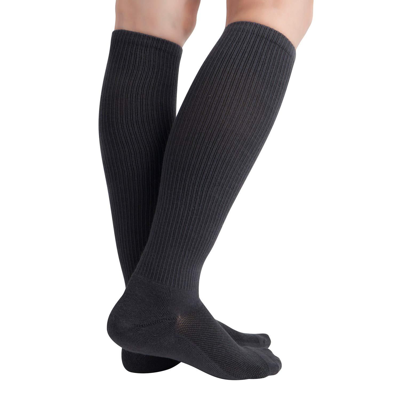 Calze a compressione per lumidita di bamb/ù 8-15 mmHg per uomo e donna Calze al ginocchio 6 paia Black10-13