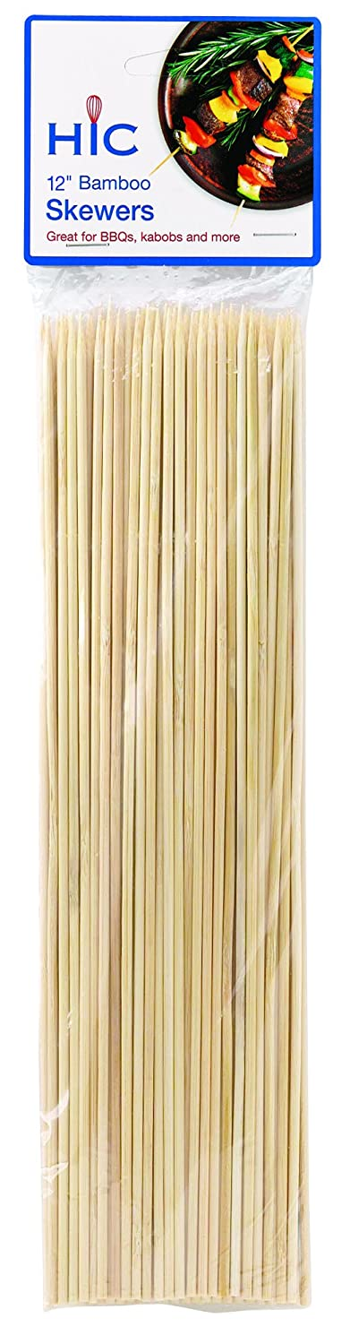 HIC Harold Import Co. 4415 HIC Bamboo BBQ, Kabob and Grill Skewers, 12-Inches Long, Set of 100 12 Inch Brown