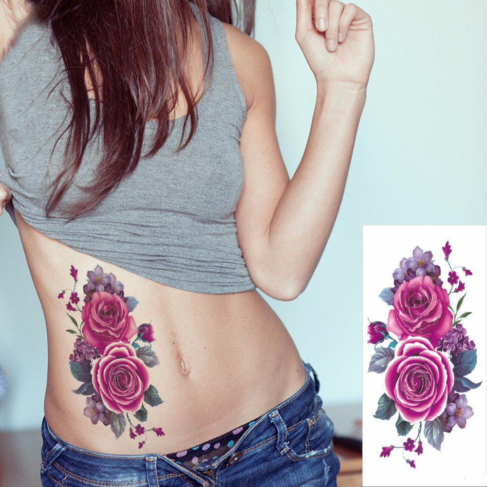 Kotbs 6 Sheets Floral Temporary Tattoo - Over 30+ Tattoos - Sexy Tattoo Sticker for Women & Girl Fake Tattoo (Chrysanthemum, Rose, Peony) by Kotbs (Image #6)
