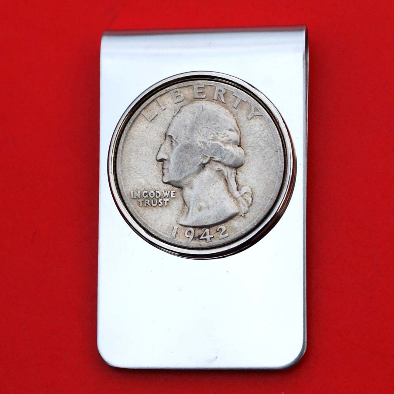 US 1942 Washington Quarter 90% Silver Coin Stainless Steel Money Clip New