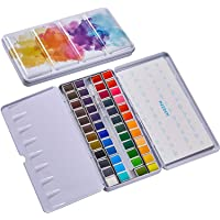 MEEDEN Solid Watercolor Paint 48 Colors Half Pan with Portable Tin Box Exterior for Beginner, Student, Teens, Children…