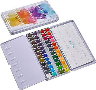 MEEDEN Watercolor Paint Set Art Watercolor Tin Palette with 48 Colors Half Pan Paints Navy Blue Enamel Exterior, Portable for Field Sketch, Journey, Coloring, Watercolor Supplies
