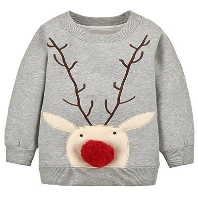 Baby Toddler Girl Boy Christmas Sweater Cute Cotton Pullover Sweatshirt