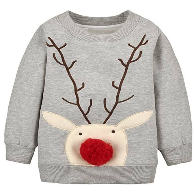 Baby Toddler Boy Christmas Sweater Cotton Pullover Sweatshirt grey deer 3T