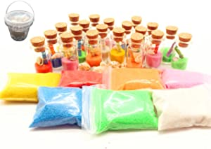 Guaishou DIY Arts and Crafts Kit for Kids Wishing Bottles Art Glass Bottles with Cork Colorful Rainbow Sand Sea Shells Mixed Beach Seashells