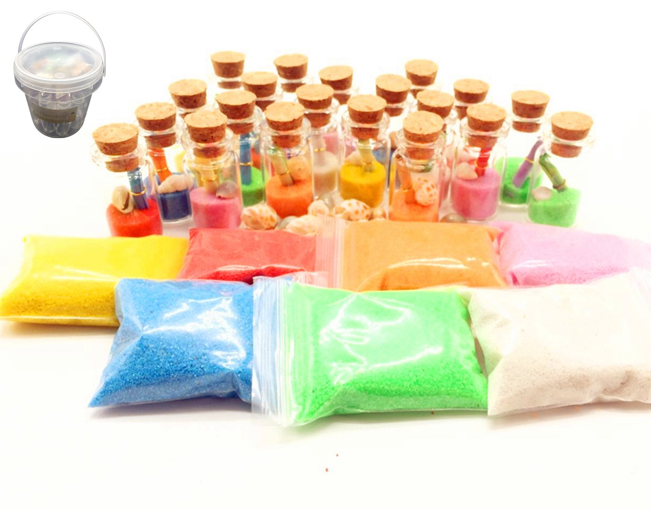 Guaishou DIY Arts and Crafts Kit for Kids Wishing Bottles Art Glass Bottles with Cork Colorful Rainbow Sand Sea Shells Mixed Beach Seashells